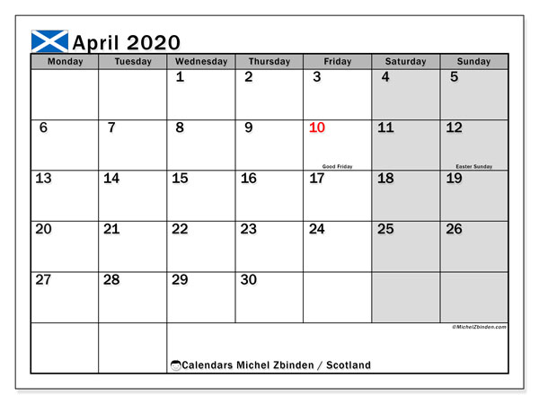 April 2020 Calendar, with the holidays of Scotland. Free printable calendar with public holidays.