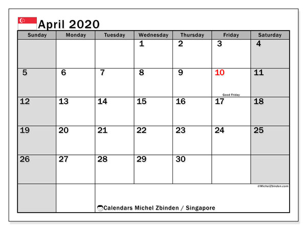 April 2020 Calendar, with the holidays of Singapore. Free printable calendar with public holidays.