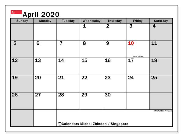 April 2020 Calendar, with the holidays of Singapore. Holidays calendar to print free.