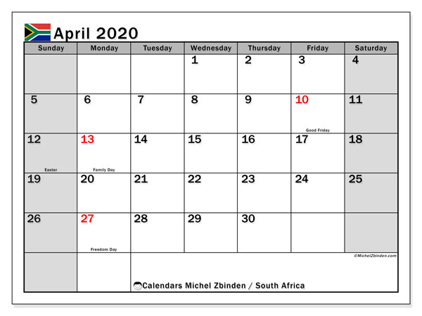 April 2020 Calendar, with the holidays of South Africa. Free printable calendar with public holidays.