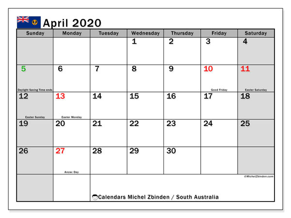 Calendar April 2020 - South Australia. Public Holidays. Monthly Calendar and schedule to print free.