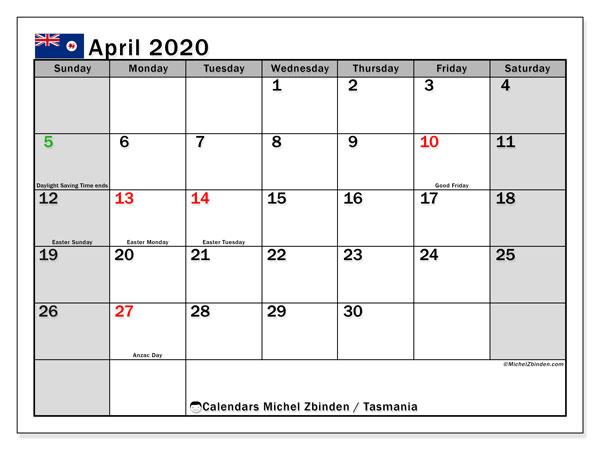 April 2020 Calendar, with the holidays of Tasmania. Free printable calendar with public holidays.