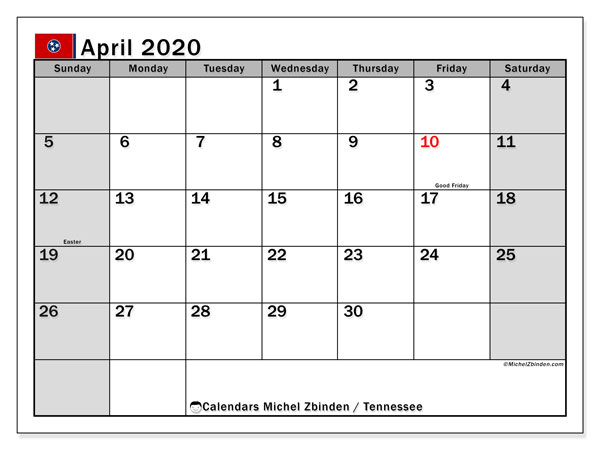 April 2020 Calendar, with the holidays of Tennessee. Free printable calendar with public holidays.
