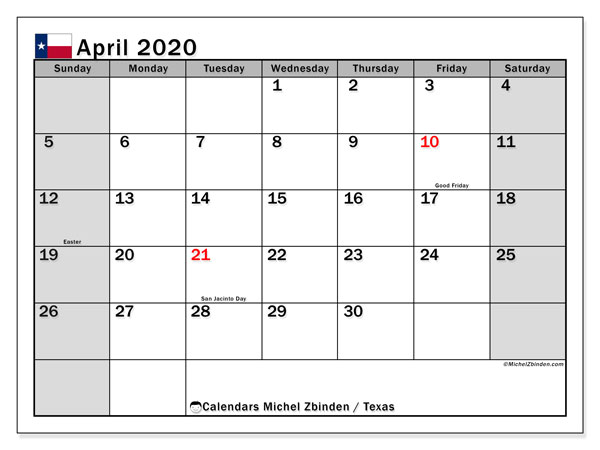 April 2020 Calendar, with the holidays of Texas. Free printable calendar with public holidays.