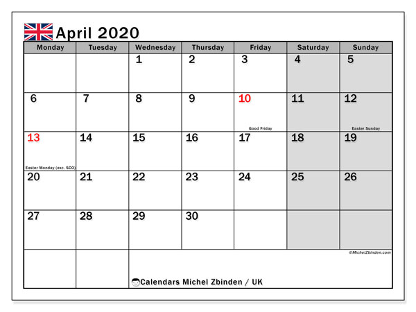 Printable April 2020 Calendar, UK
