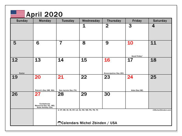April 2020 Calendar, with the holidays of the USA. Holidays calendar to print free.