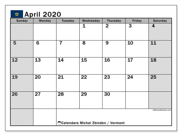April 2020 Calendar, with the holidays of Vermont. Free printable calendar with public holidays.