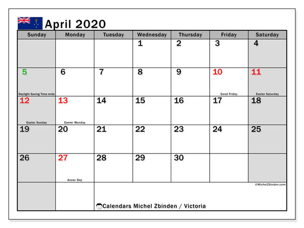April 2020 Calendar, with the holidays of Victoria. Holidays calendar to print free.