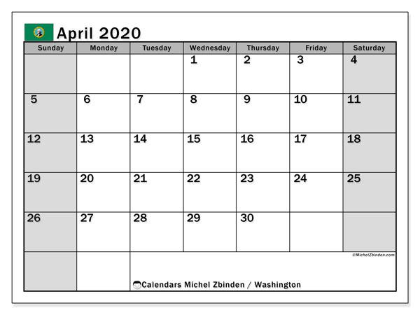 April 2020 Calendar, with the holidays of Washington. Free printable calendar with public holidays.