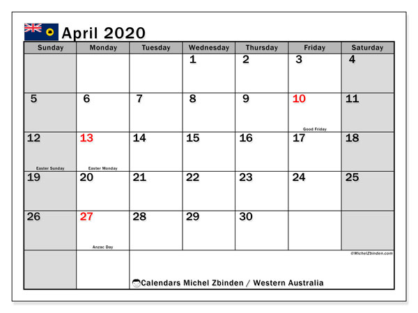 Calendar April 2020 - Western Australia. Public Holidays. Monthly Calendar and free printable planner.