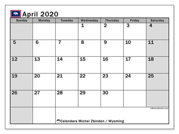 Calendar April 2020 - Wyoming. Public Holidays. Monthly Calendar and timetable to print free.