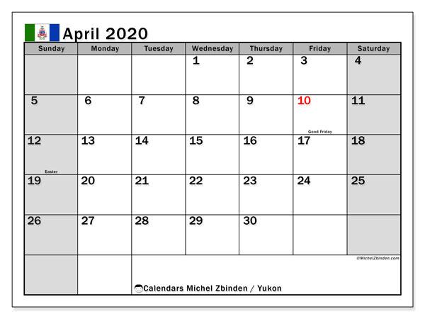 April 2020 Calendar, with the holidays of Yukon. Holidays calendar to print free.