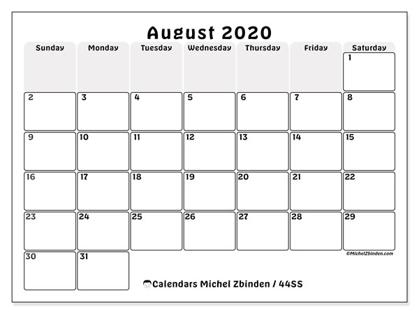 August 2020 Calendar, 44SS. Calendar for the month to print free.