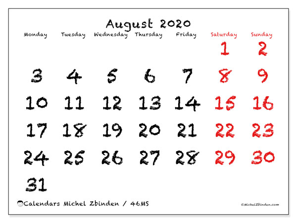 August 2020 Calendars (MS).  46MS.