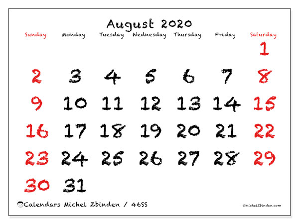 August 2020 Calendar, 46SS. Monthly planner to print free.