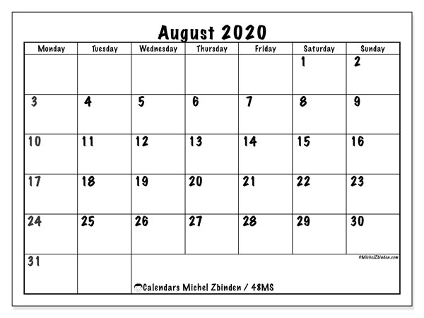 Calendar August 2020 - 48MS. Marker style. Monthly Calendar and agenda to print free.