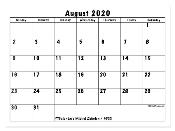 August 2020 Calendar, 48SS. Bullet journal to print free.