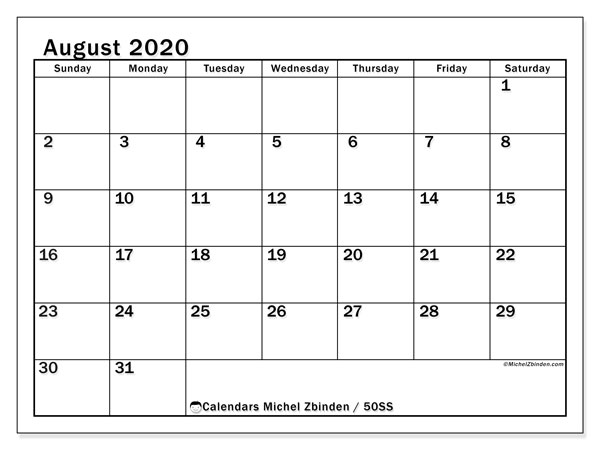 August 2020 Calendar, 50SS. Free printable monthly planner.