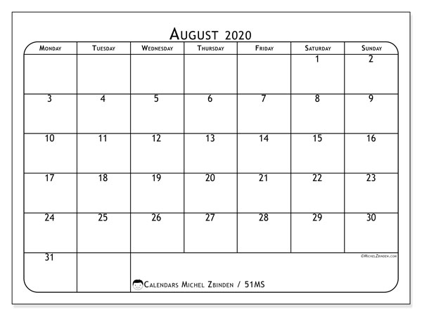 August 2020 Calendars (MS).  51MS.