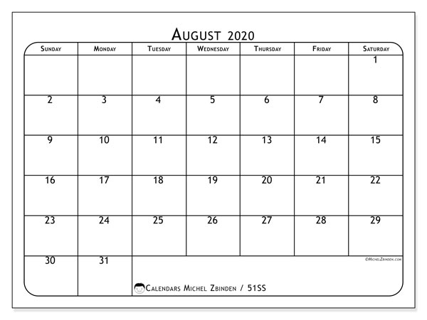 August 2020 Calendar, 51SS. Planner to print free.