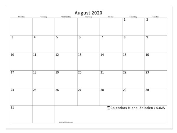 August 2020 Calendar, 53MS. Free bullet journal to print.