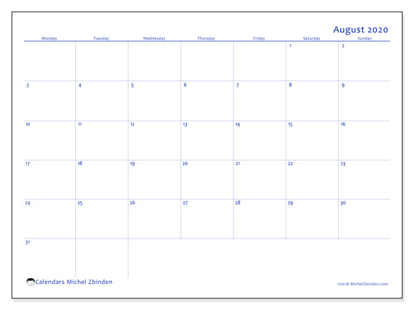 August 2020 Calendars (MS).  55MS.