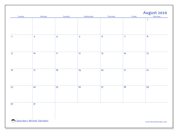 August 2020 Calendar, 55SS. Monthly planner to print free.