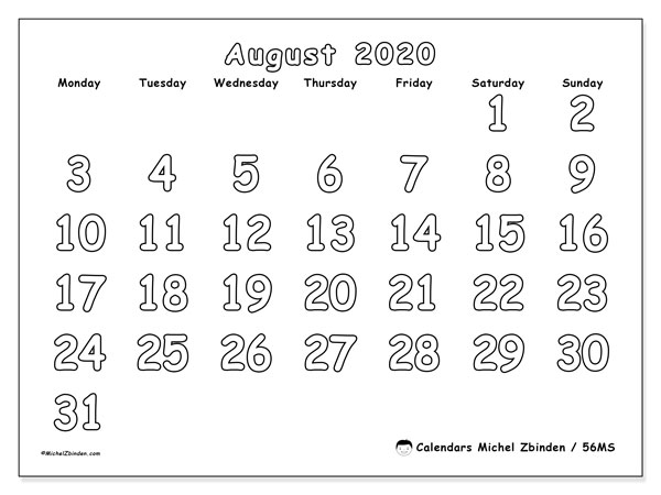 August 2020 Calendars (MS).  56MS.