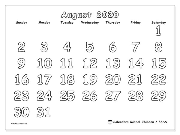 August 2020 Calendar, 56SS. Calendar for the month to print free.
