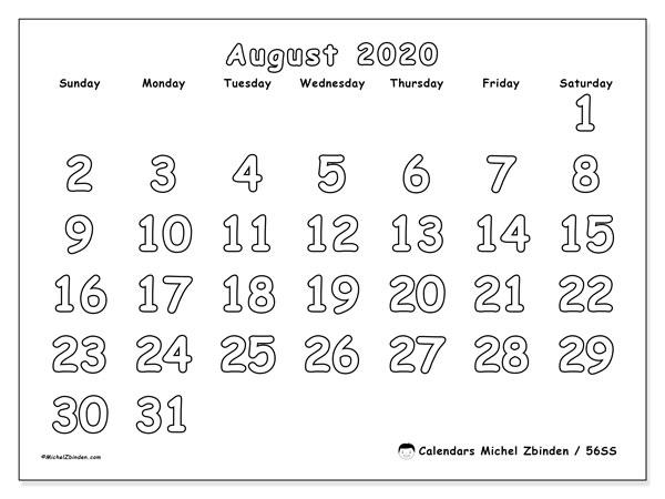 August 2020 Calendar, 56SS. Monthly calendar to print free.