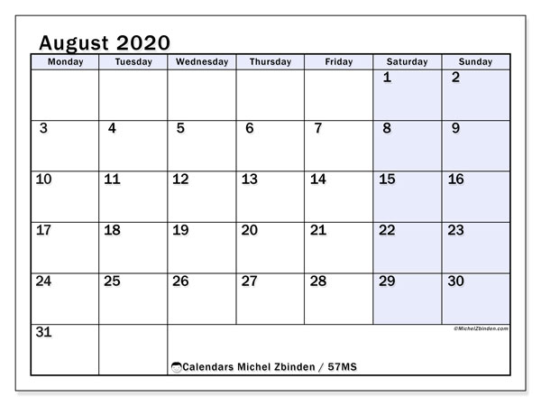 August 2020 Calendar, 57MS. Free bullet journal to print.
