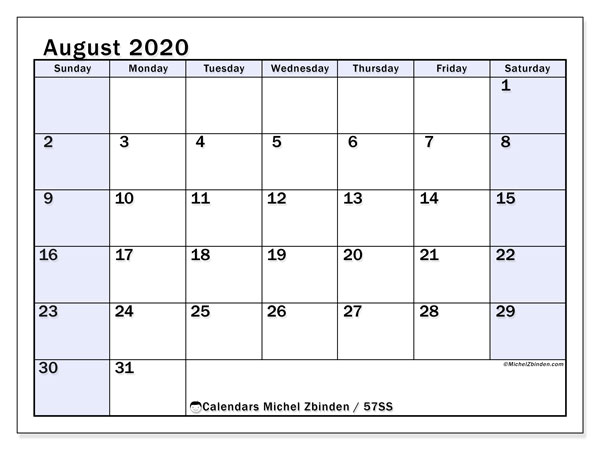 August 2020 Calendar, 57SS. Free planner to print.