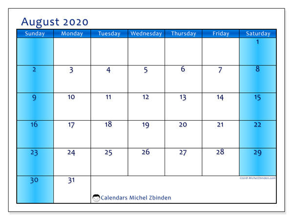 August 2020 Calendar, 58SS. Calendar for the month to print free.