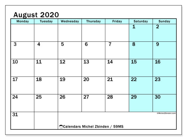 August 2020 Calendar, 59MS. Calendar for the month to print free.