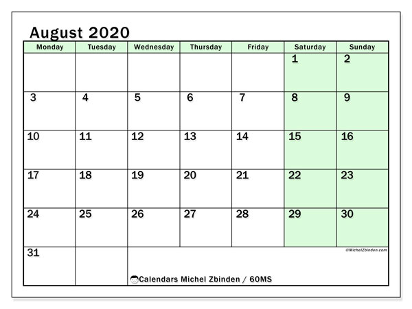 August 2020 Calendar, 60MS. Bullet journal to print free.
