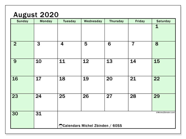 August 2020 Calendar, 60SS. Monthly calendar to print free.
