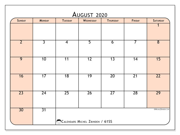 August 2020 Calendar, 61SS. Free printable monthly planner.