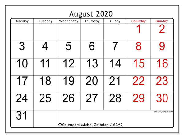 August 2020 Calendars (MS).  62MS.