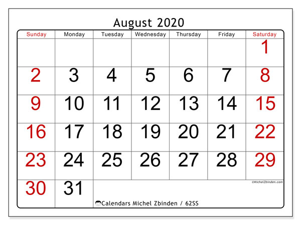 August 2020 Calendar, 62SS. Free planner to print.