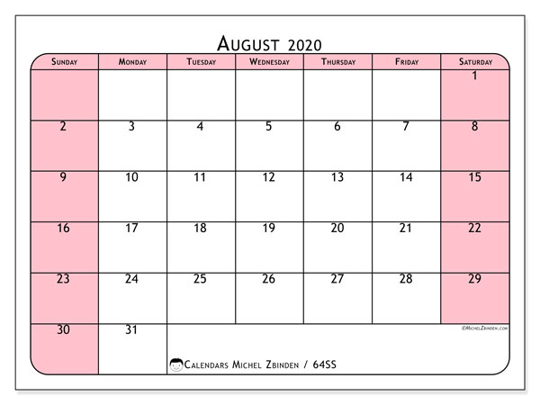 August 2020 Calendar, 64SS. Calendar for the month to print free.