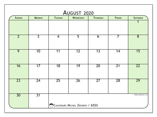 August 2020 Calendar, 65SS. Free printable calendar.