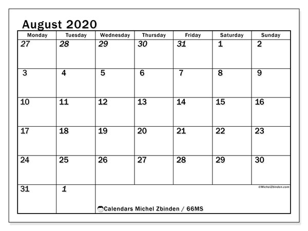 August 2020 Calendars (MS).  66MS.