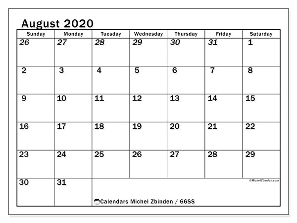 August 2020 Calendar, 66SS. Planner to print free.