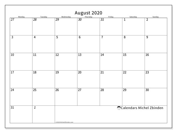 August 2020 Calendars (MS).  70MS.