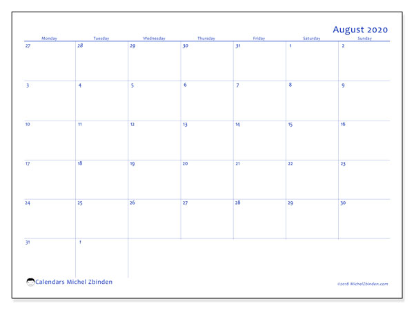 August 2020 Calendars (MS).  73MS.