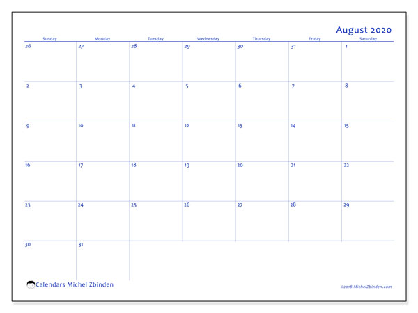 August 2020 Calendar, 73SS. Free printable monthly planner.