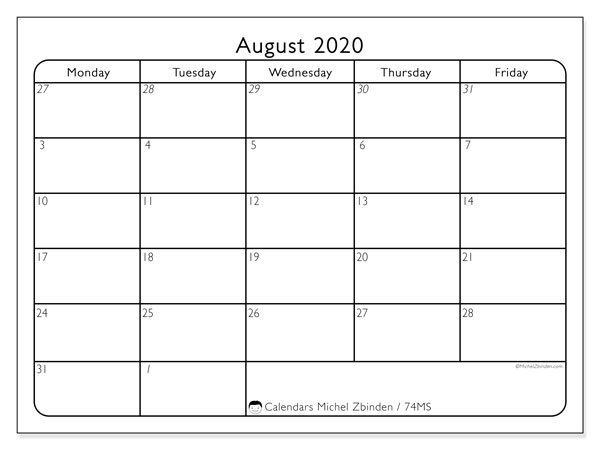 August 2020 Calendars (MS).  74MS.
