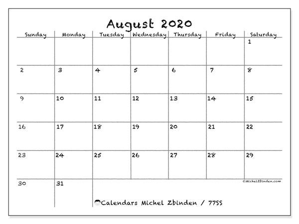 August 2020 Calendar, 77SS. Free bullet journal to print.