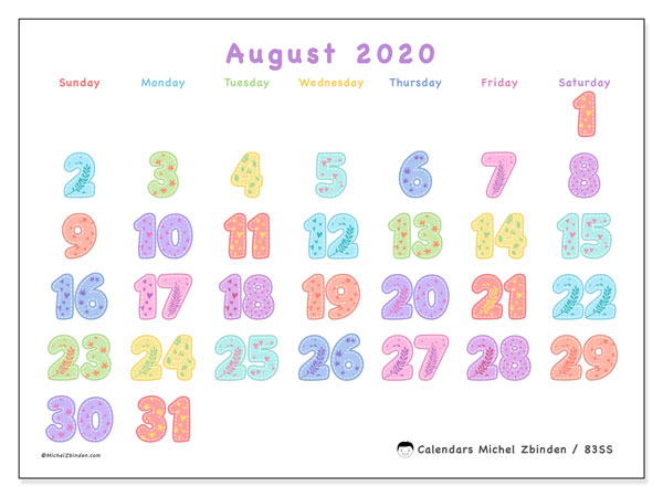 "Printable August 2020 calendar. Monthly calendar ""83SS"" and free printable bullet journal"