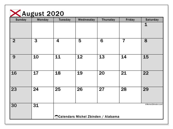 August 2020 Calendar, with the holidays of Alabama. Holidays calendar to print free.